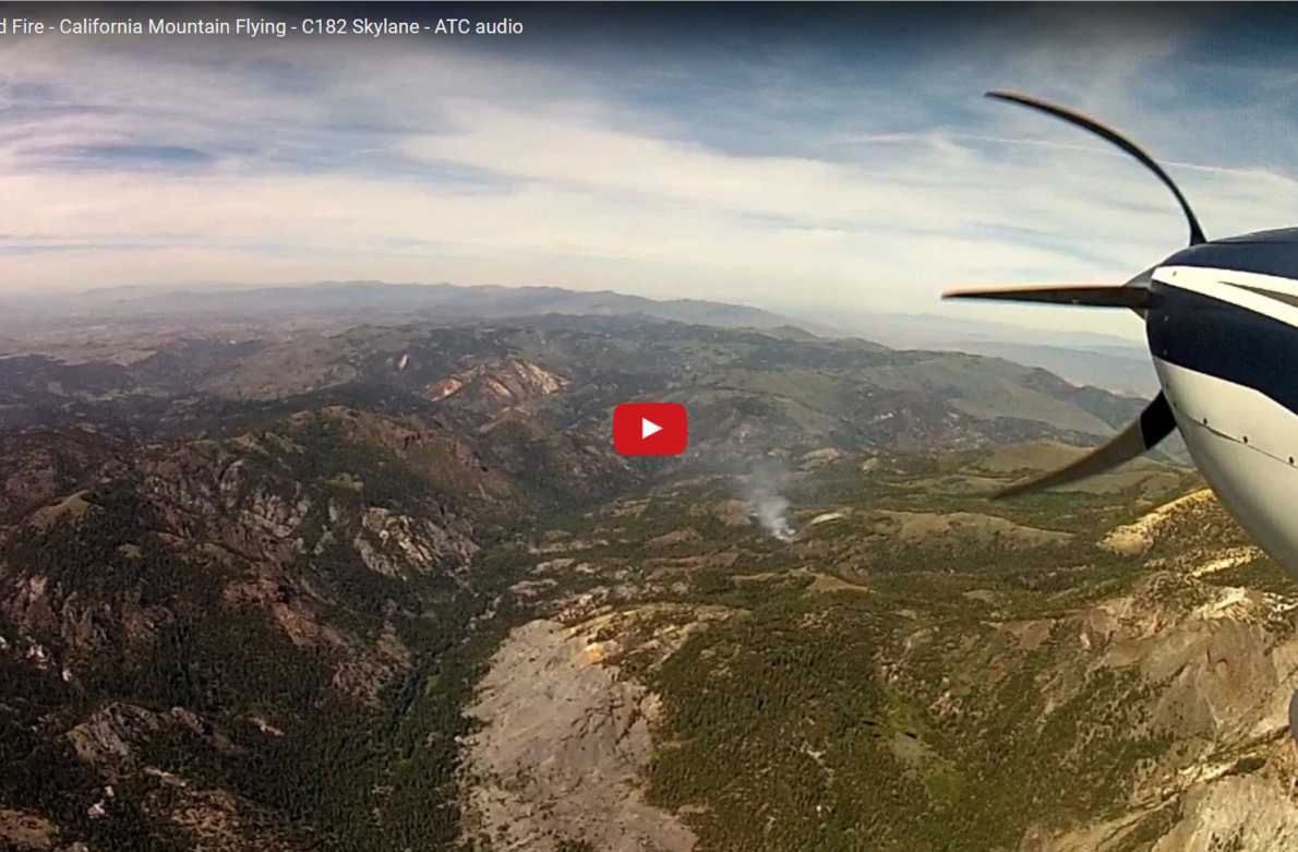 Birth of a HUGE Wild Fire – California Mountain Flying – C182 Skylane – ATC audio